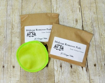 Lime Green Cotton Velour Makeup Remover Pads- Set of 10 - Face Scrubbie