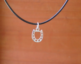 Equestrian Horseshoe Charm Pendant Sterling Silver with Black Cord,Hose Shoe Necklace,Equestrian Jewelry
