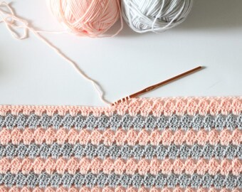 Crochet Modern Granny Blanket in Peach and Grey Pattern