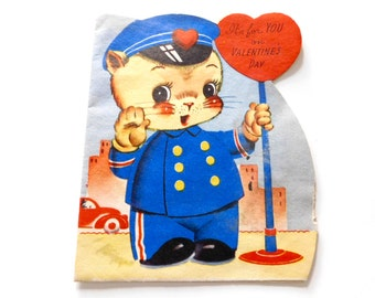 "Valentine Kitty Policeman ""It's for You on Valentine's Day"", 1920's Valentine Card, Made in USA"