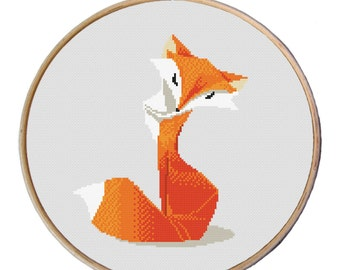 Fox Cross stitch pattern, Cute red fox, Counted cross stitch pattern, Cross Stitch Pattern, modern cross stitch pattern PDF-Instant download