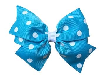 Turquoise polka dot hair bow - blue polka dot bow, 4 inch bows, girls hair bows, girls bows, blue hair bows, toddler bows, hair bows, bows