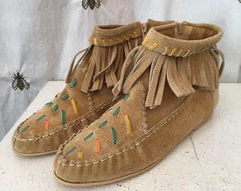 Vintage Boho Beige Suede Fringe Booties, with Teal, Yellow, Orange Leather Detail, NWT, Deadstock, Captivators, Size 8.5