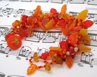 Beaded Bracelet - The Leaf Series - Vibrant Fall Autumn by randomcreative on Etsy