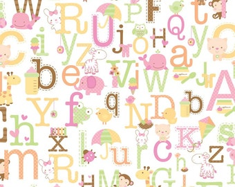 Alphabet and Animal Fabric - Half Yard - Riley Blake - Sweet Baby Girl