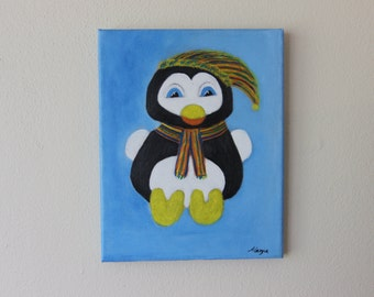 "Painting of penguin with hat and scarf, in acrylic and oil on canvas (Canvas 8 ""x 10 children)."
