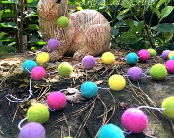 Spring Garland  Felt Ball Garland Easter - Agua - Yellow - Lavender - Bright Pink - Pom Pom Garland  Nursery Playroom Garland