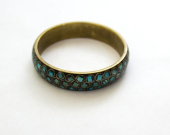 Oasis Bracelet — 1970s vintage brass bangle turquoise inlay // boho hippie bangle // blue, green bangle // speckled statement bracelet