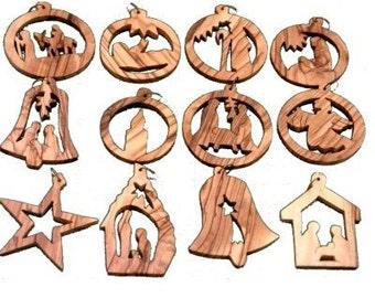 Bethlehem Olive Wood Handcarved Christmas Ornaments from Jerusalem