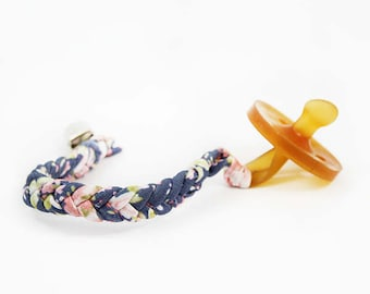 Floral Pacifier Clip, Paci Clip, Braided Pacifier Clip, Pacifier Holder, Mudcloth, Binki Clip, Baby Shower Gift, New Baby Gift,