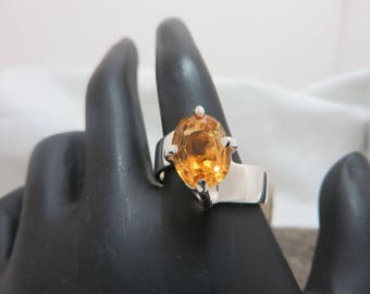 Sterling silver with oval Golden citrine ring