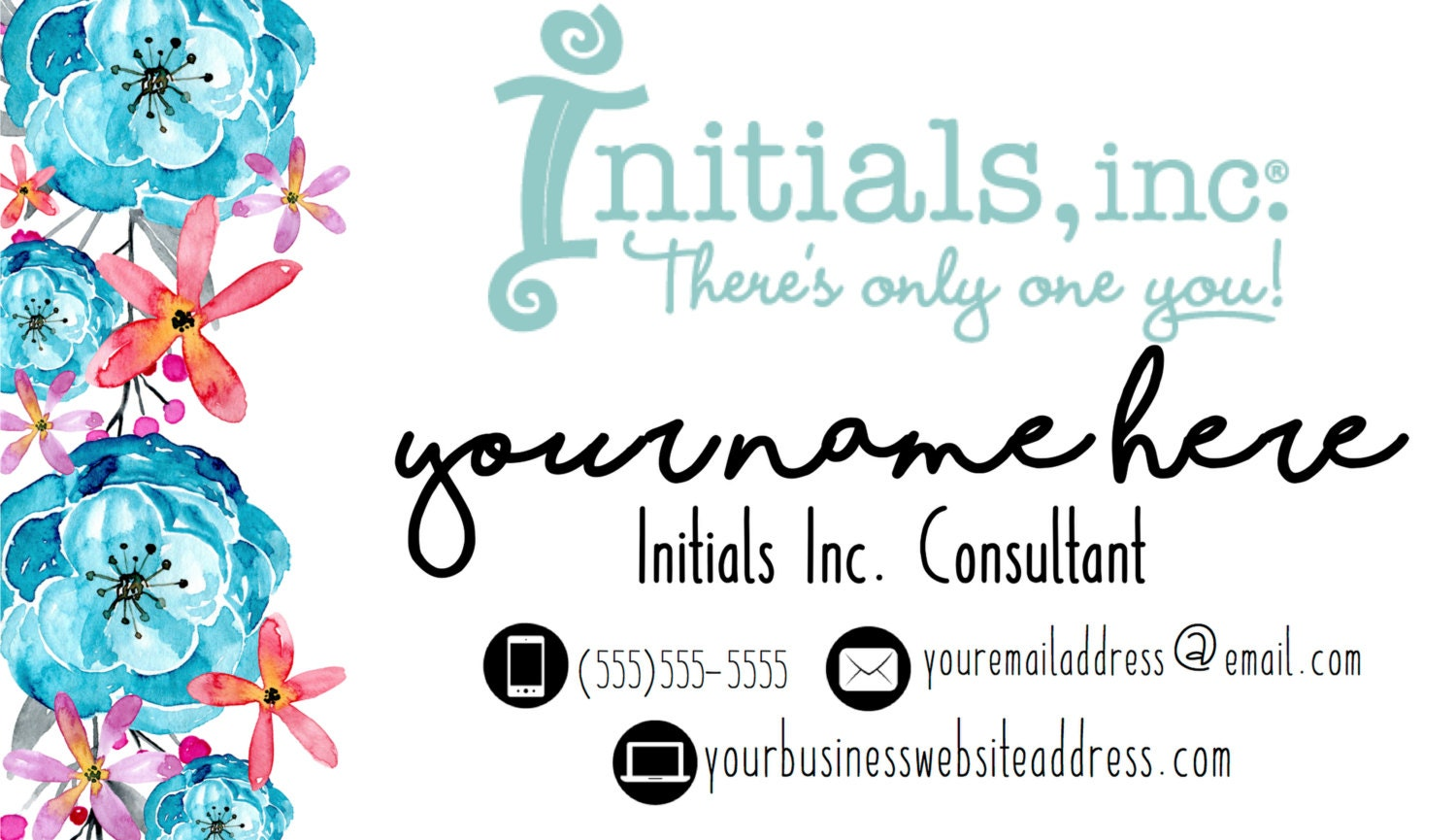 Initials Inc. Personalized Business Card: Coral and Turquoise