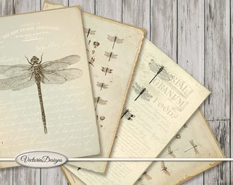 Dragonfly Cards 3.5 x 5 inch printable paper crafting diy junk journal instant download digital download digital collage sheet - VDCAVI1660