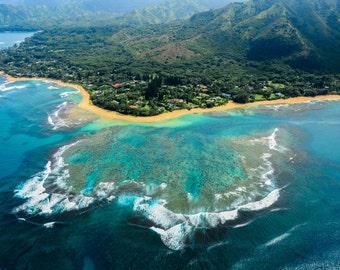 Gorgeous Blue Kauai Beach Landscape Fine Art Photo Print, summer nature photography