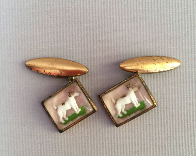 Art Deco 1930s-40s cufflinks with  terrier dogs.
