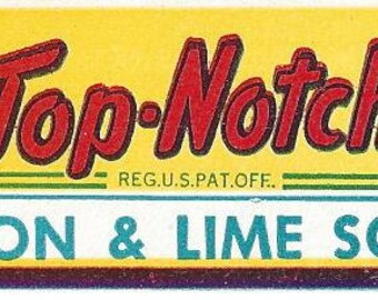 Top-Notch Lemon & Lime Soda Bottle Neck Vintage Label, 1950s