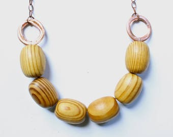 Wood beaded necklace, Chunky necklace, Copper necklace