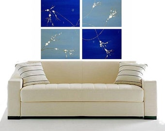 Blue Original Painting Modern Flowers Landscape Contemporary Minimalist Made To Order Home Decor