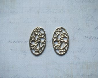 2 charms 22x13mm goldtone openwork oval medallion print