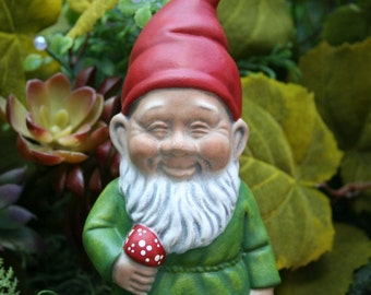 Garden Gnomes German Style Yard Gnome Holding a Mushroom