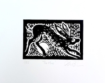 The Hare limited edition linocut print