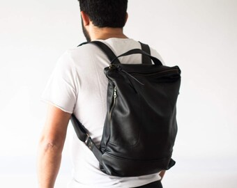 Black leather backpack, unisex backpack laptop simple city backpack daypack laptop 13 macbook work backpack soft leather - The Minos Bag