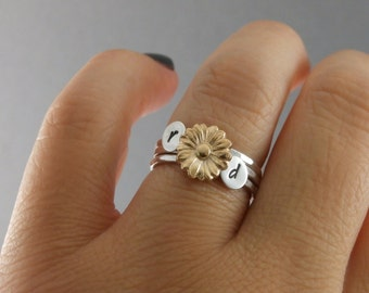 Sunflower Stack Rings, Stack Rings, Sunflower Ring, Initial Stack Rings, Sterling Silver Stack Rings, Initial Stack Band Rings, Set Of Three