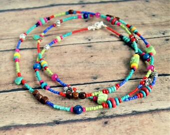 colorful long beaded necklace, boho jewelry, hippie jewelry, tribal, gift for women, under 25 dollars