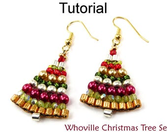 Beaded Christmas Tree Earrings Beading Pattern - Brick Stitch Tutorial - Simple Bead Patterns - Whoville Christmas Tree Set #10430