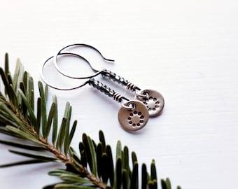 Minimalist Flower Earrings, Small Sterling Silver Drop, Blue Gray Earrings - Daisy