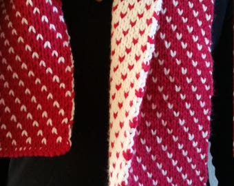 Red and White Reversible Scarf