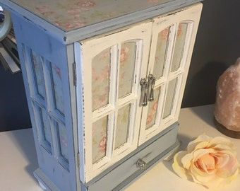 Vintage Blue and white shabby chic rose print jewelry box - upcycled