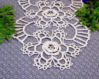 Beige Table Runner - Beige Doily - Doily Table Runner - Cream Doily - Floral Table Runner - Floral Crochet Doily - Cream Table Runner