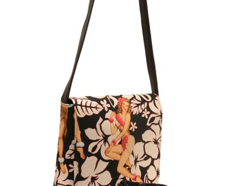 US Handmade Aloha Girls Pin Up Girl  Pattern Messenger Bag Pattern Shoulder Bag Purse, Black and Biege Color,New