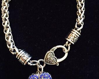 BINGO Crystal Heart Charm Bracelet