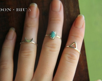 Sterling Silver Stack Rings, Turquoise Ring, Stacking Ring Set, Silver Stacking Rings, Sterling Silver Ring, Bohemian Jewelry, Boho Ring