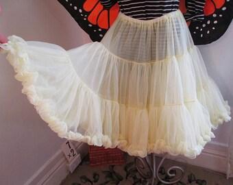 Vintage Yellow Crinoline 80s sheer nylon petticoat Vintage 80s butter big fluffy slip pin up skirt square dance slip S M