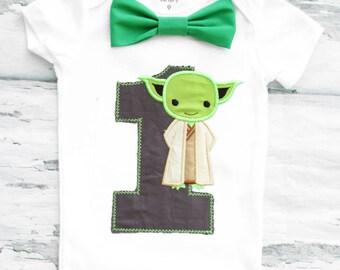 Baby Boy First Birthday Baby Yoda themed first birthday bow tie suspender set Boy one year cake smash Starwars themed first Star Wars Yoda