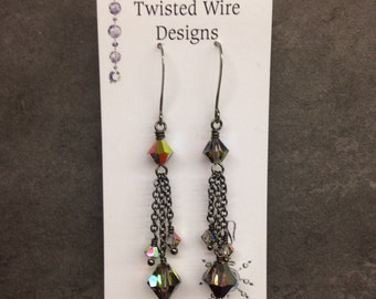 Gun Metal and Vitrail Swarovski Crystal Earrings