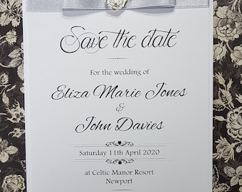 "Handmade Wedding ""Save the date"", white mat card, Silver shimmer ribbon, silver rose embellishment"