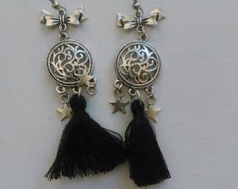 Handmade earrings with tassel and stars
