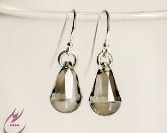 Satin Grey Swarovski Crystal Cabochette Earrings, Raindrop Earrings, Sterling Silver Earrings, Greige Swarovski Earrings, Dainty Earrings