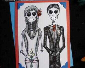 Bride + Groom in 'Pura Vida' / Calavera Wedding Handmade Greeting Card