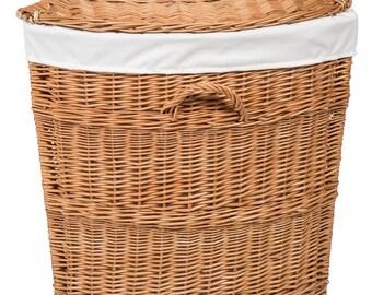 Wicker Corner Laundry Basket Lined