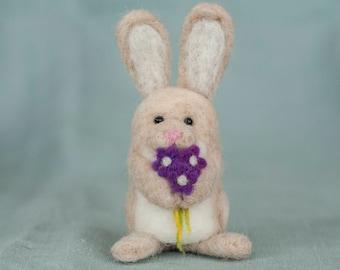 Needle Felted Bunny - Holding Flowers