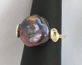 Ring - Black Pearl Coin Ring