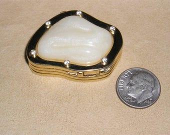 Vintage Signed Estee Lauder 1980's Clam Rhinestone Solid Perfume Holder 6007