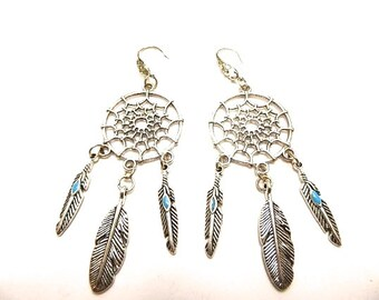 Kit earrings Native American silverplate