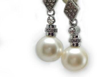 Rhodium Plated  Pearl Earrings, Rhinestone  Dangle l Earrings