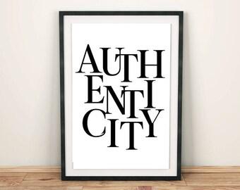 Authenticity word art, PRINTABLE wall art, Instant download scandinavian print, Digital print, Minimalist poster, Scandinavian poster